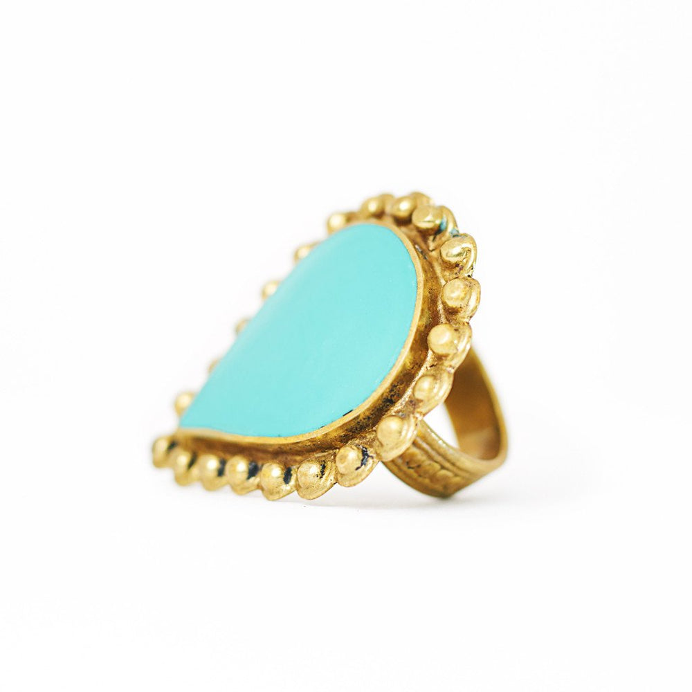Load image into Gallery viewer, Ring Tibetan Drop Turquoise