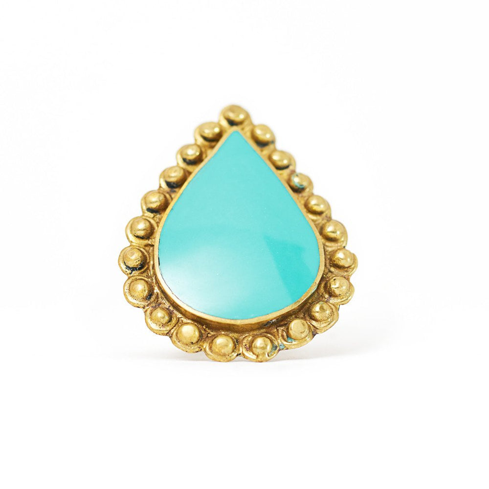 Load image into Gallery viewer, Ring Tibetan Drop Turquoise Front