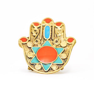 Load image into Gallery viewer, Ring Tibetan Fatimah Hand orange stone