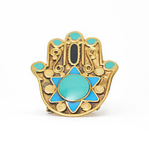 Load image into Gallery viewer, Ring Tibetan Fatimah Hand Turquoise Front
