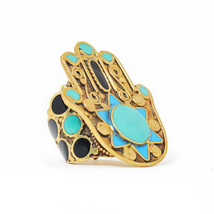 Load image into Gallery viewer, Ring Tibetan Fatimah Hand Turquoise