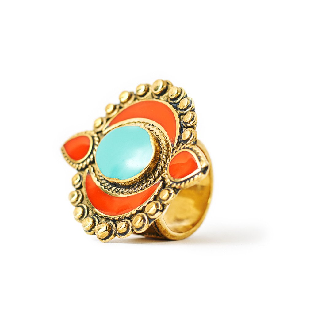 Ring Tibetan Moon Orange