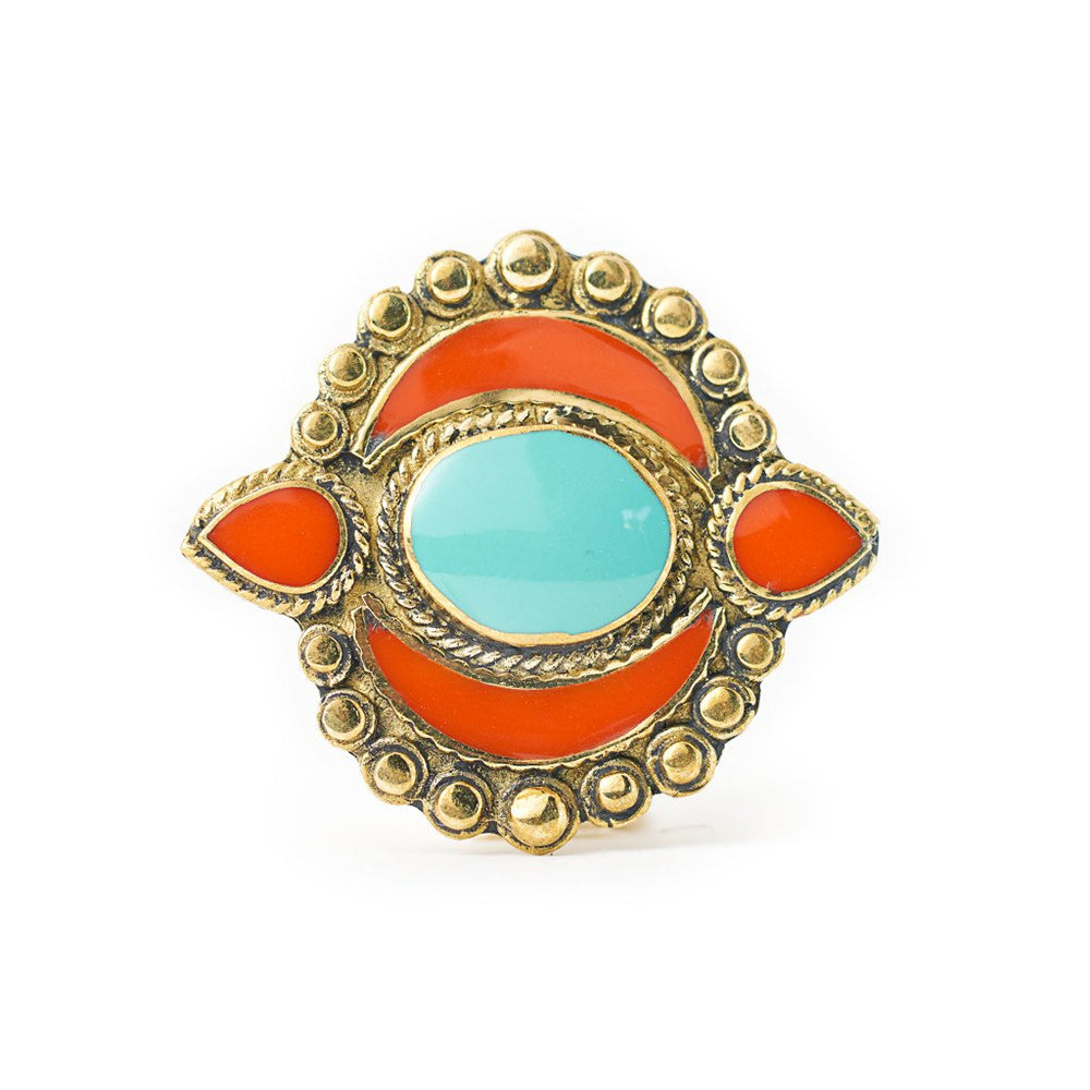 Load image into Gallery viewer, Ring Tibetan Moon Orange Front