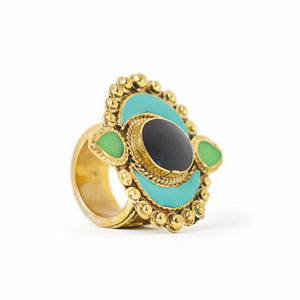 Load image into Gallery viewer, Ring Tibetan Moon Turquoise