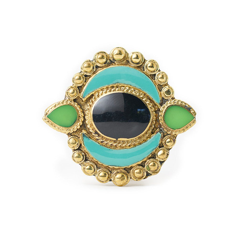 Load image into Gallery viewer, Ring Tibetan Moon Turquoise Front