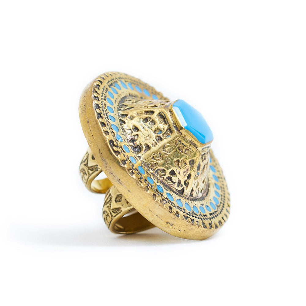 Load image into Gallery viewer, Ring Tibetan Round Blue