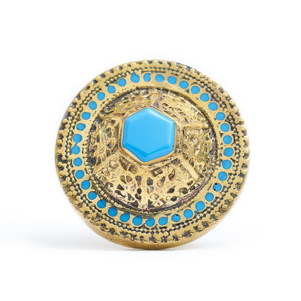 Load image into Gallery viewer, Ring Tibetan Round Blue Front