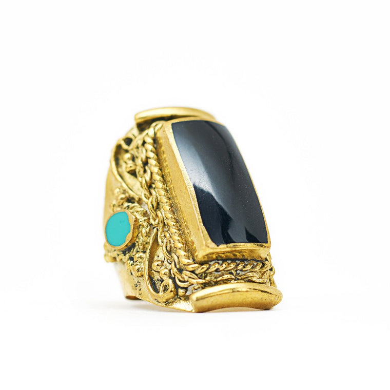Ring Tibetan Square Black