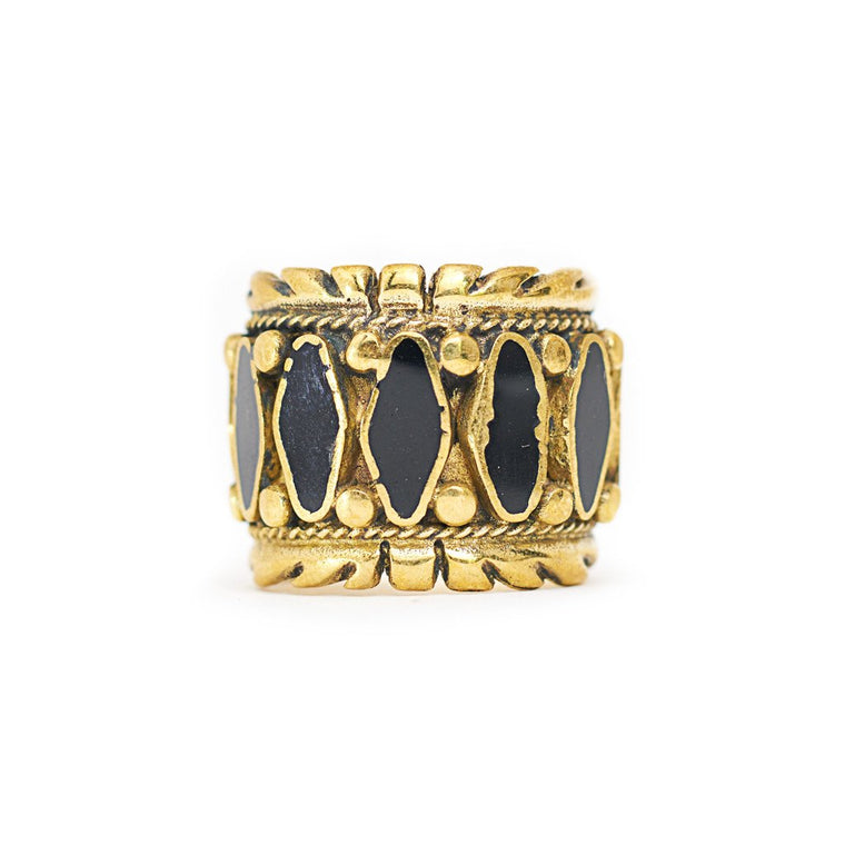Ring Tibetan Stripe Black Front