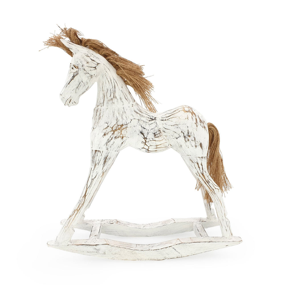 Load image into Gallery viewer, Handmade wooden rocking horse white L side view