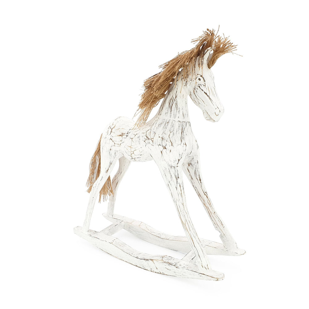 Load image into Gallery viewer, Handmade wooden rocking horse white L angle view