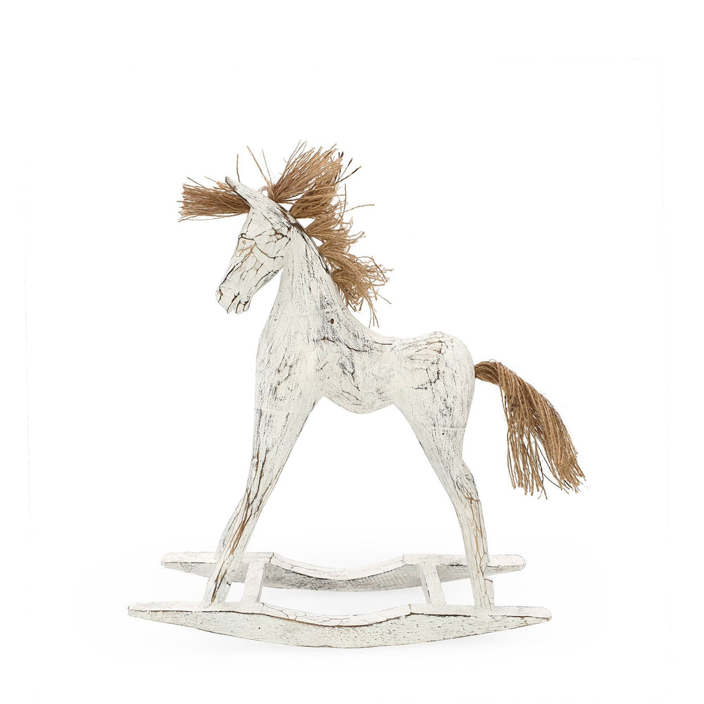 Load image into Gallery viewer, Handmade wooden rocking horse white M side view