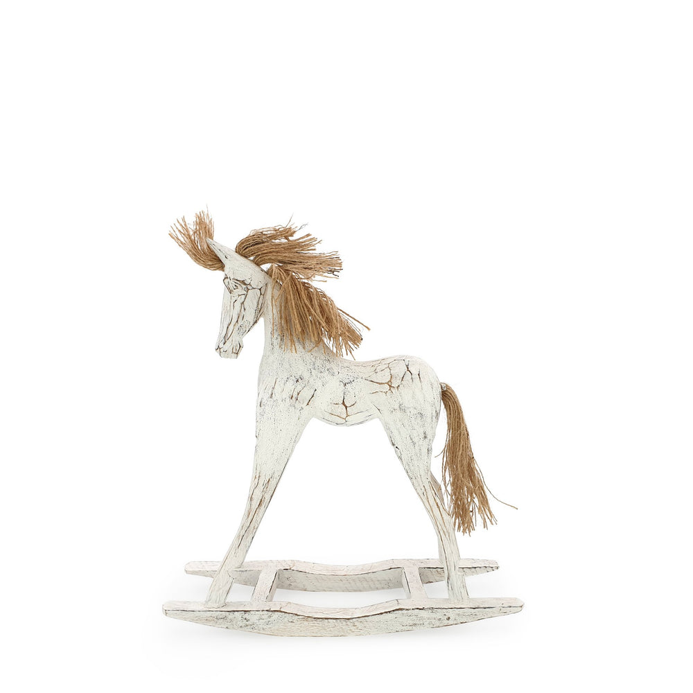 Load image into Gallery viewer, Handmade wooden rocking horse white S side view
