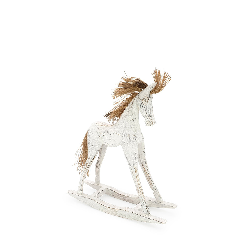 Load image into Gallery viewer, Handmade wooden rocking horse white S angle view