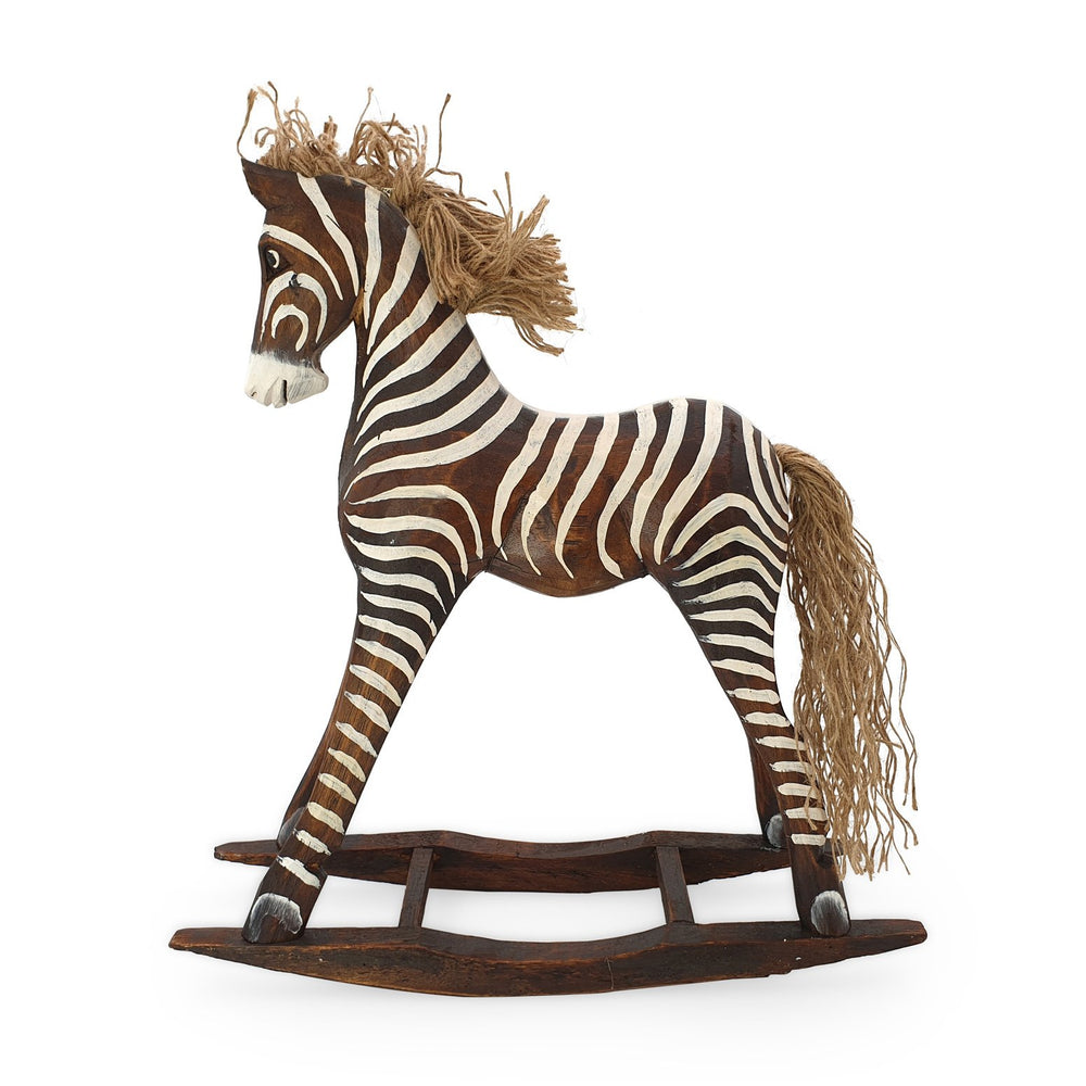 Load image into Gallery viewer, Handmade wooden rocking brown zebra L side view
