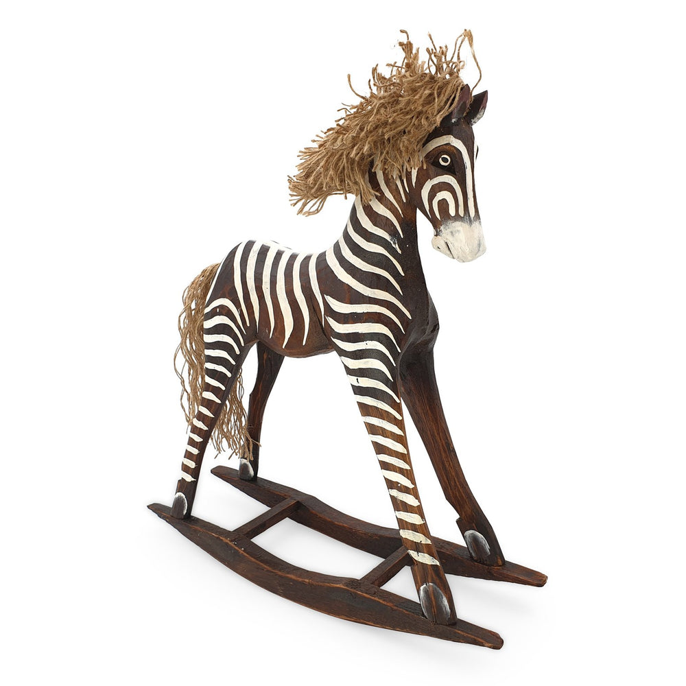 Load image into Gallery viewer, Handmade wooden rocking brown zebra L angle view