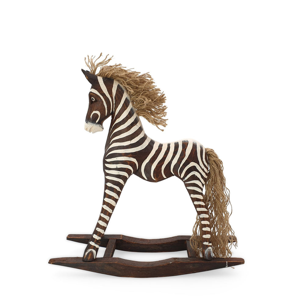 Load image into Gallery viewer, Handmade wooden rocking brown zebra M side view