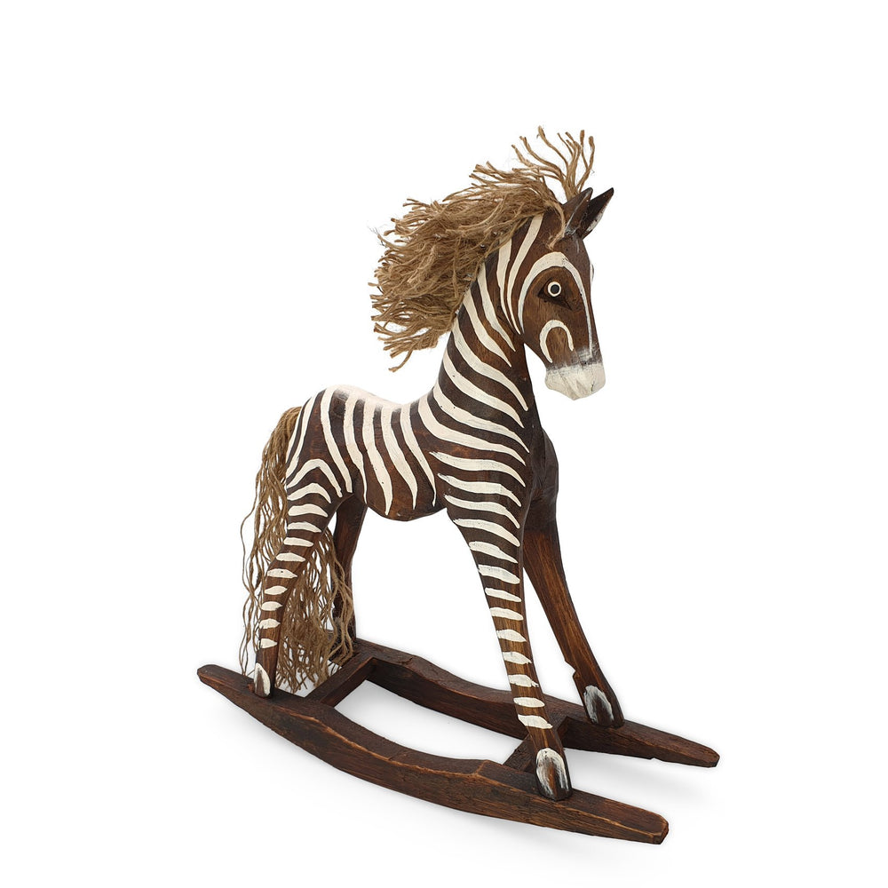 Load image into Gallery viewer, Handmade wooden rocking brown zebra M angle view