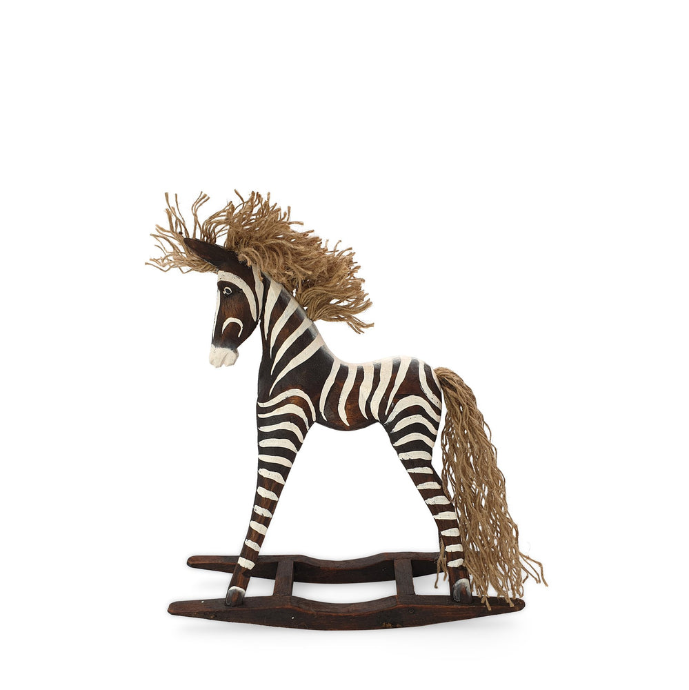 Load image into Gallery viewer, Handmade wooden rocking brown zebra S side view