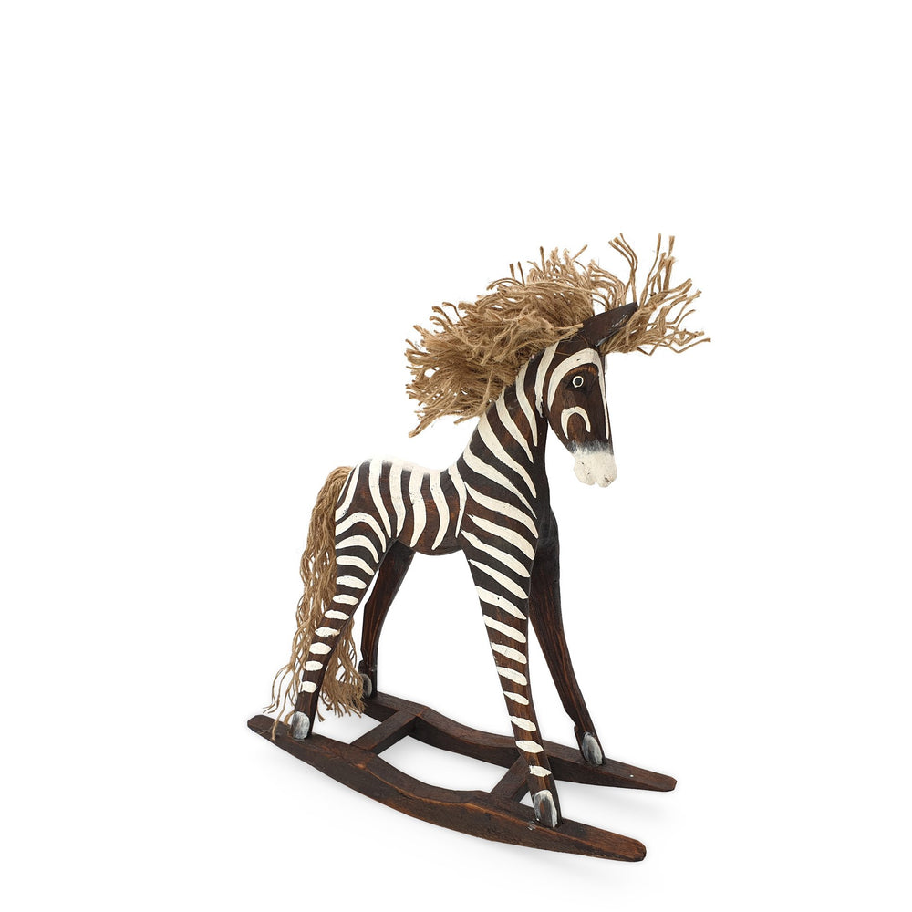 Load image into Gallery viewer, Handmade wooden rocking brown zebra S angle view