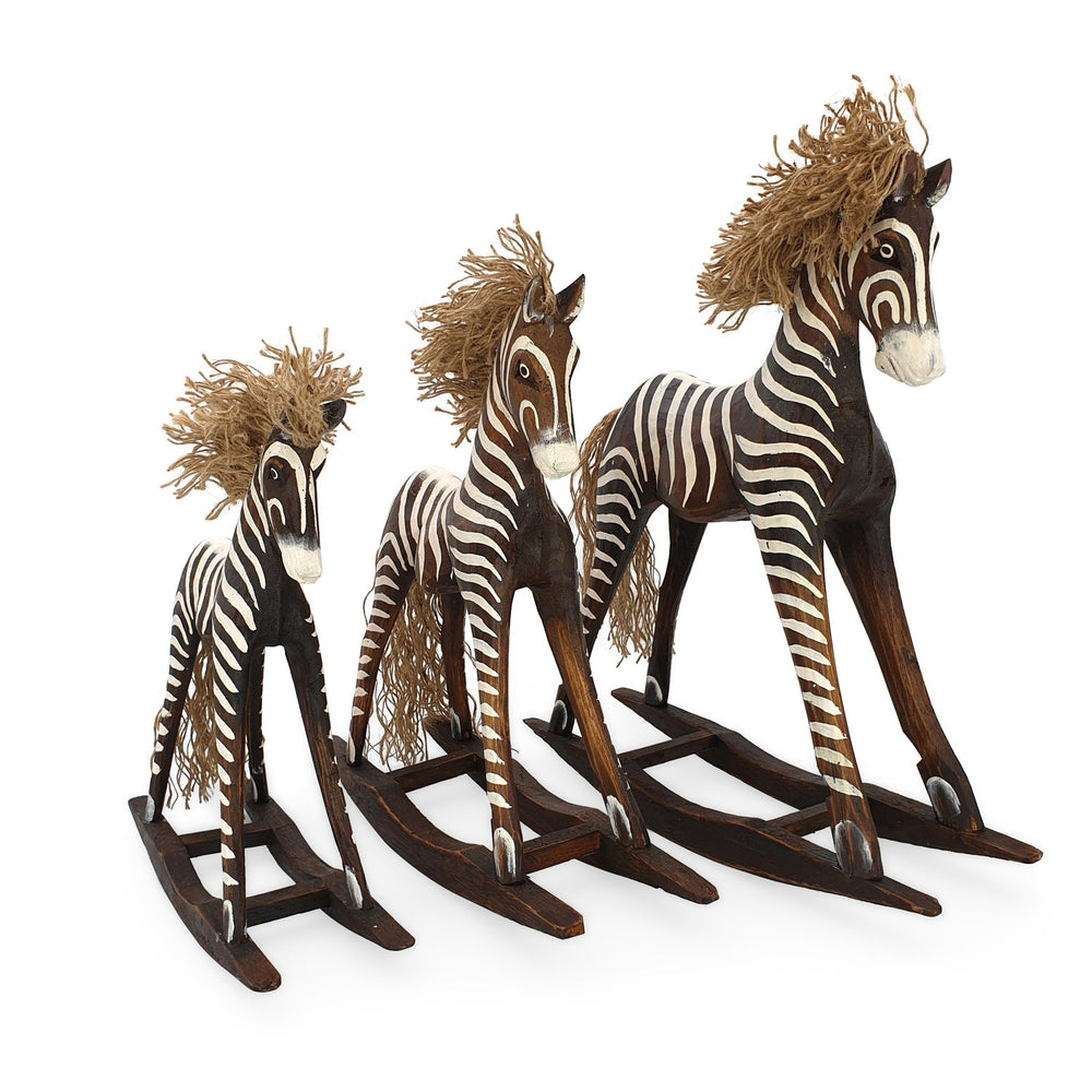Load image into Gallery viewer, Handmade wooden rocking zebra set brown