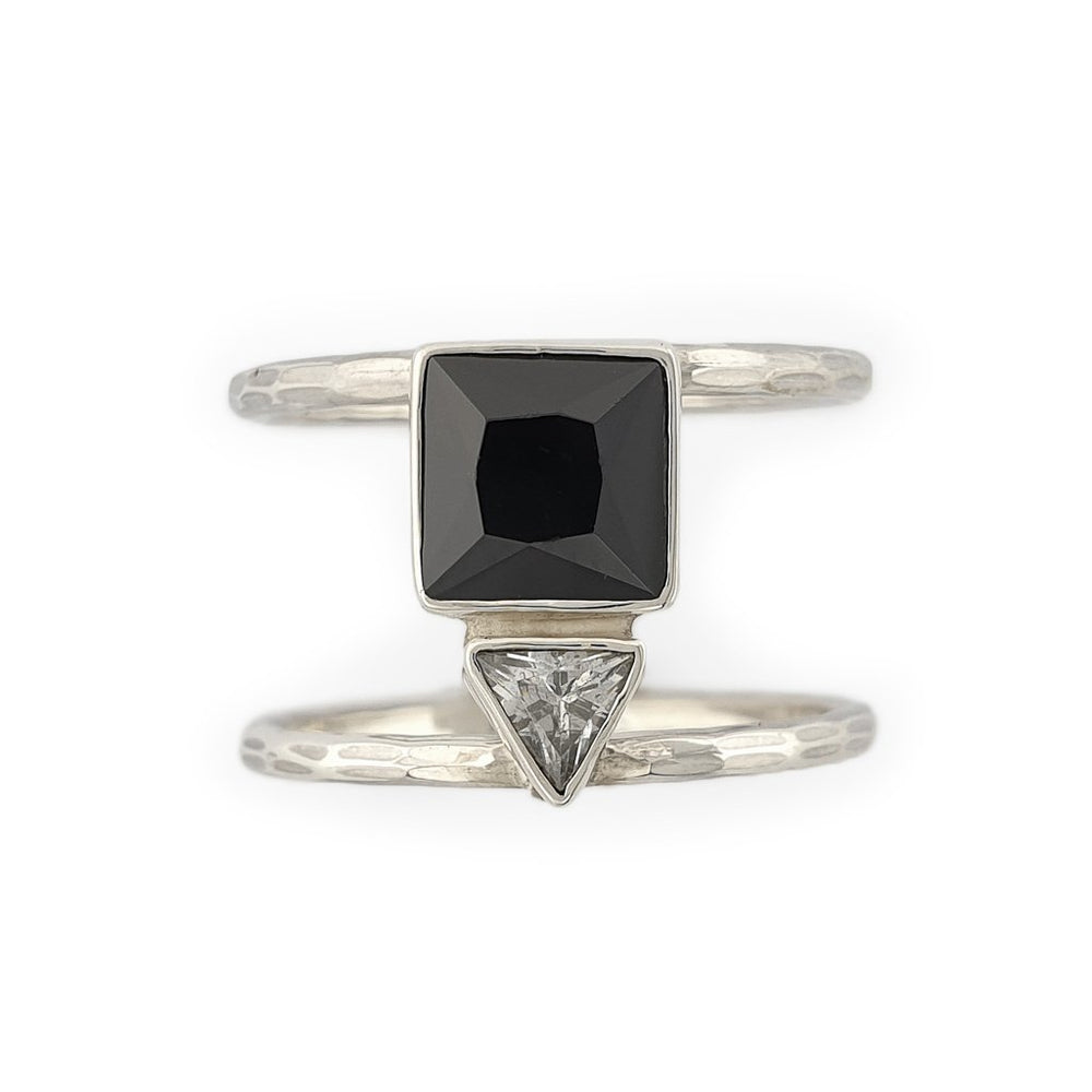 Sterling silver double ring with zircon triangle stone front view