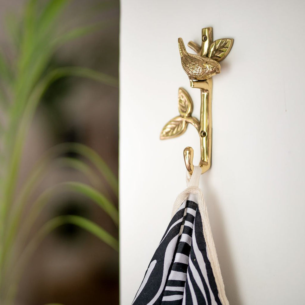 Load image into Gallery viewer, Solid brass wall hook bird on a branch on the wall
