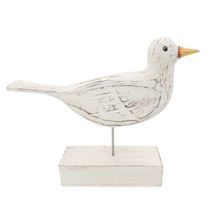 Load image into Gallery viewer, Wooden bird statue white side view