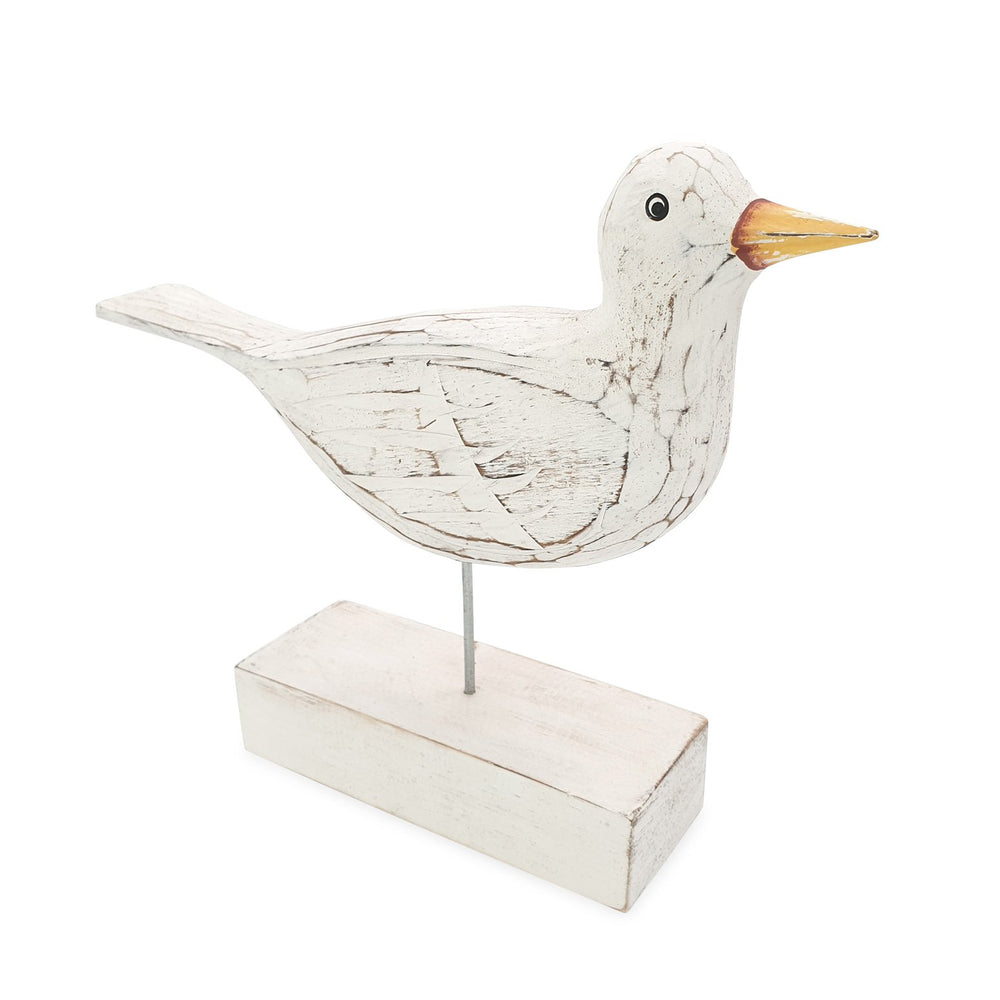 Wooden bird statue white