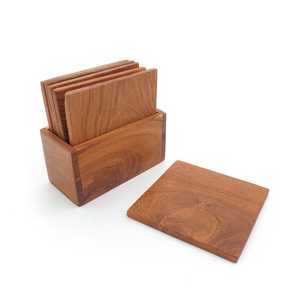 Wooden Coaster Square Set of 6