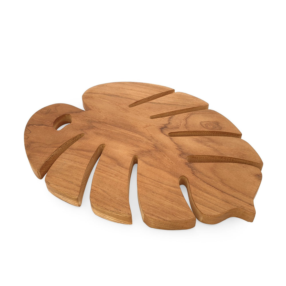 Wooden trivet monstera L