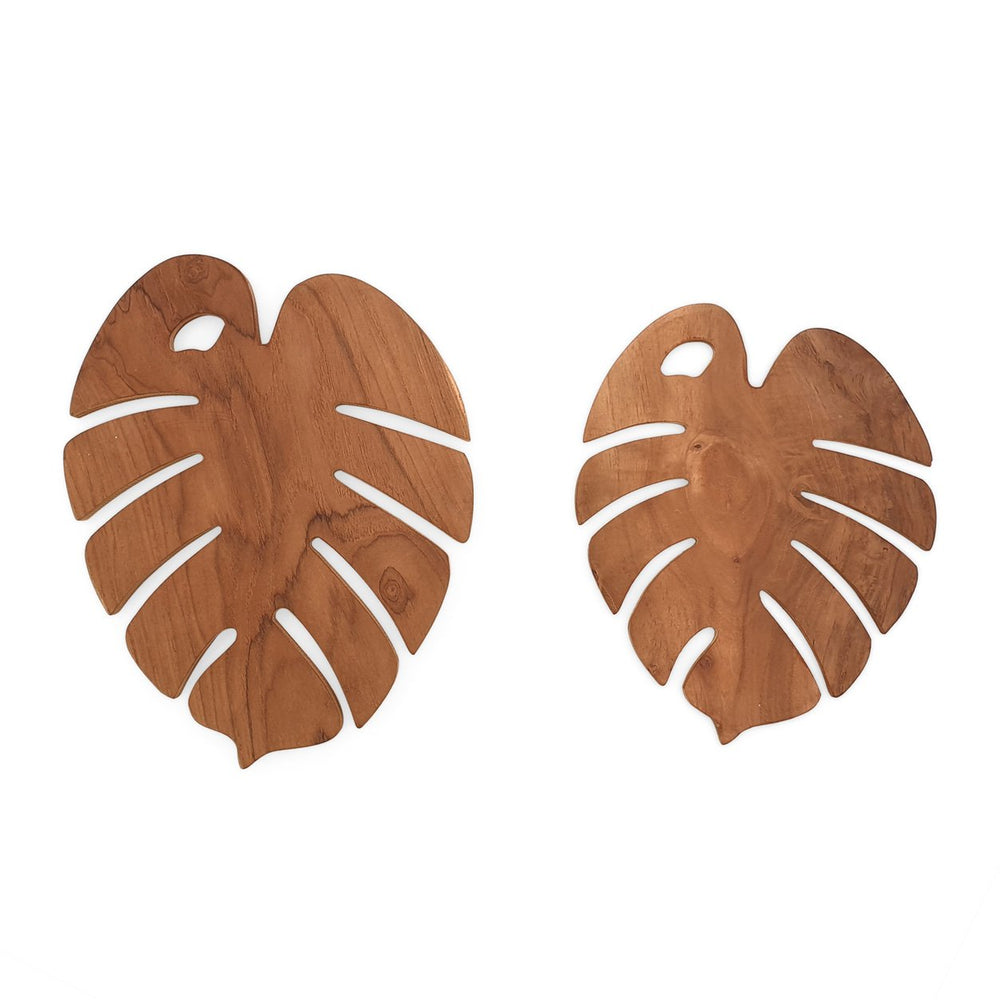 Wooden trivet monstera set