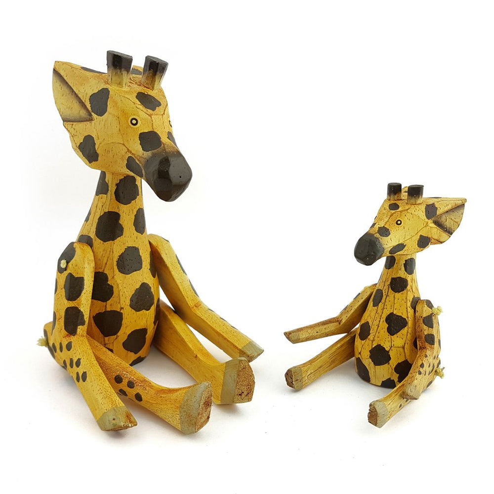Wooden Animal Giraffe big and small