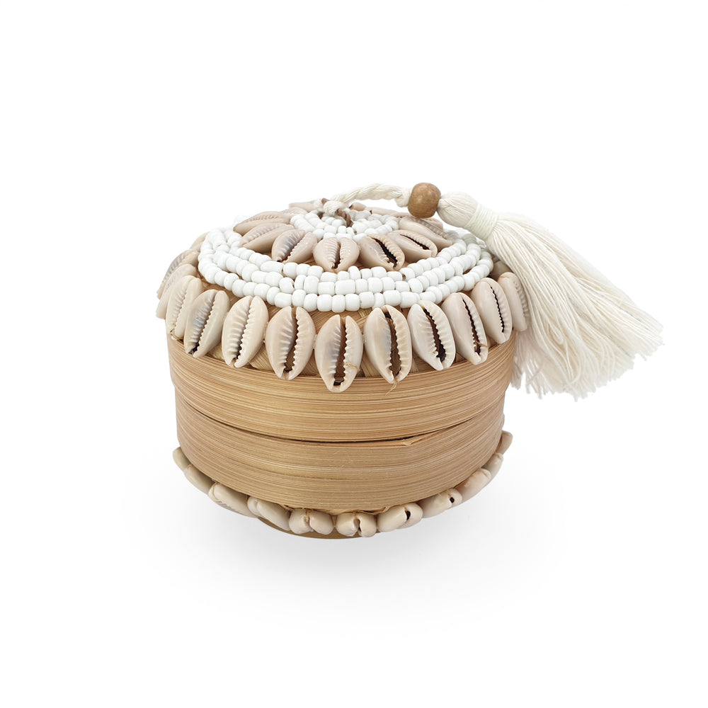 Balinese bead box round mini with cowrie shells