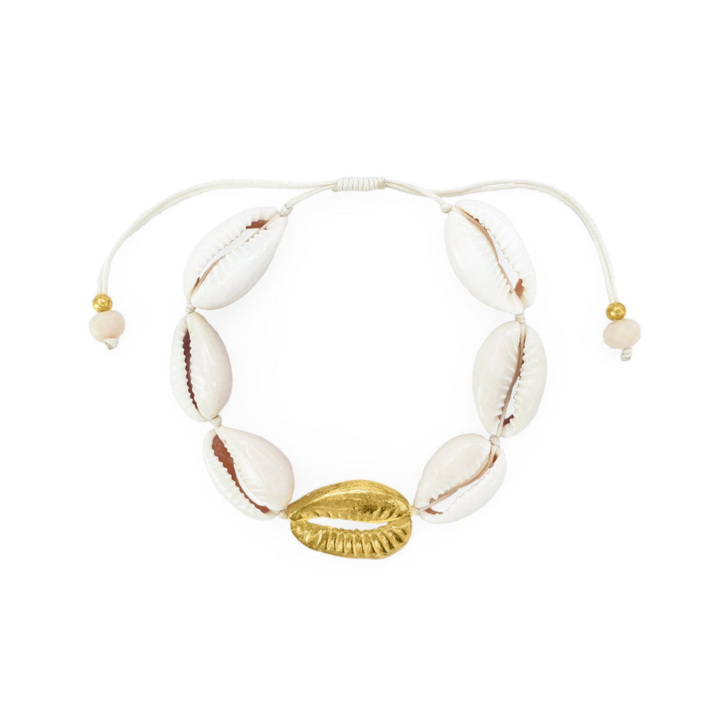 Bracelet cowrie shells and brass gold shell