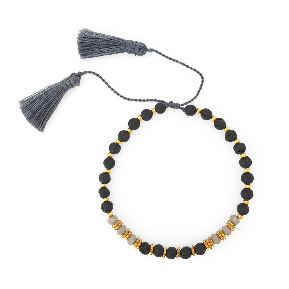Bracelet lava stone and crystal with grey tassel
