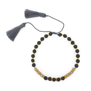 Load image into Gallery viewer, Bracelet lava stone and crystal with grey tassel