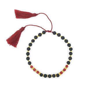 Load image into Gallery viewer, Bracelet lava stone and crystal with maroon tassel