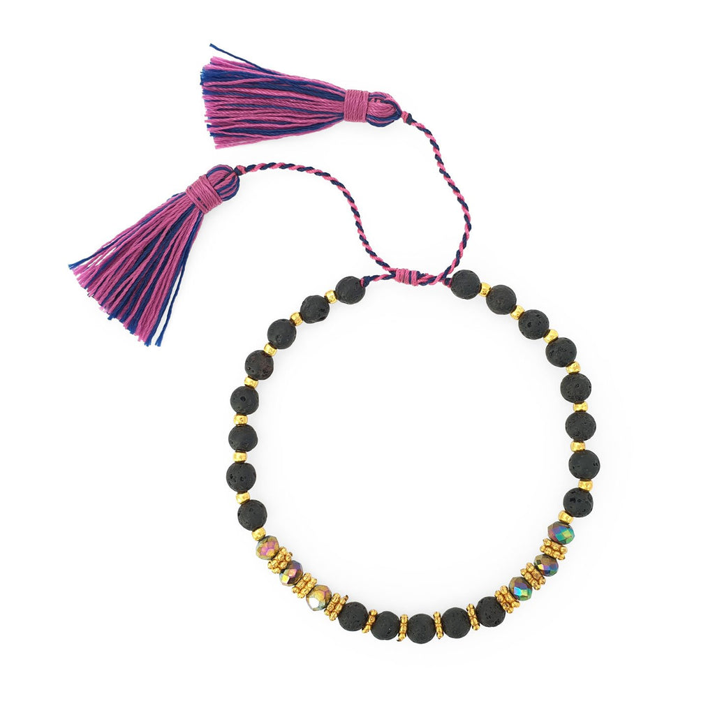 Bracelet lava stone and crystal with mix tassel