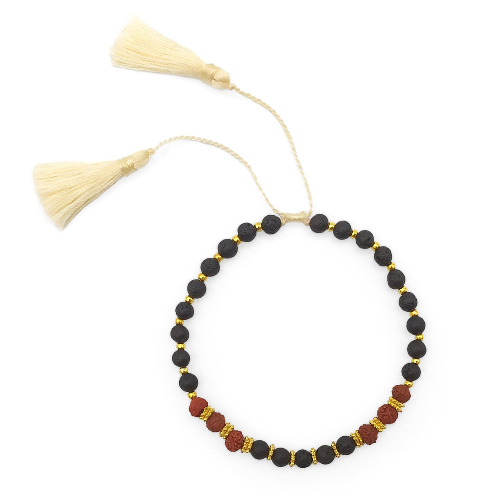 Load image into Gallery viewer, Bracelet lava stone and rudraksha with cream tassel