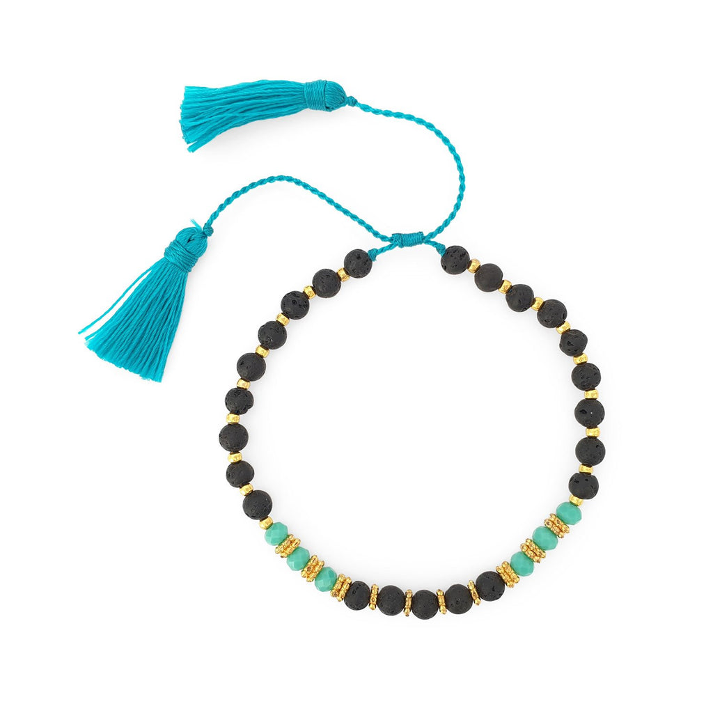 Bracelet lava stone and crystal with turquoise tassel