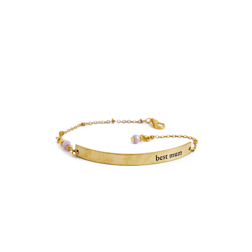 Load image into Gallery viewer, bracelet brass quote gold inspiration best mum