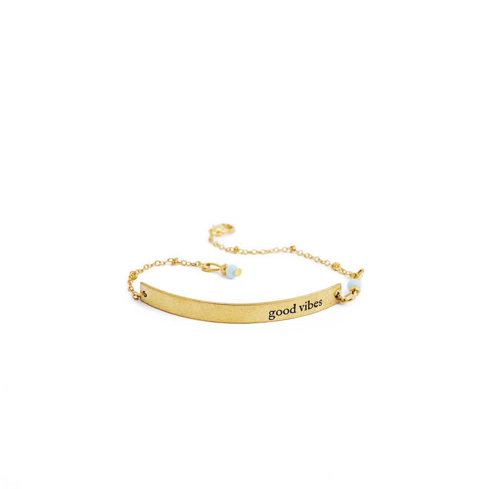 Load image into Gallery viewer, bracelet brass quote gold inspiration good vibes