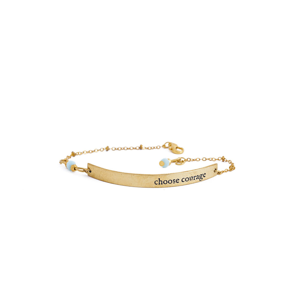 Load image into Gallery viewer, bracelet inspiration brass quote gold courage