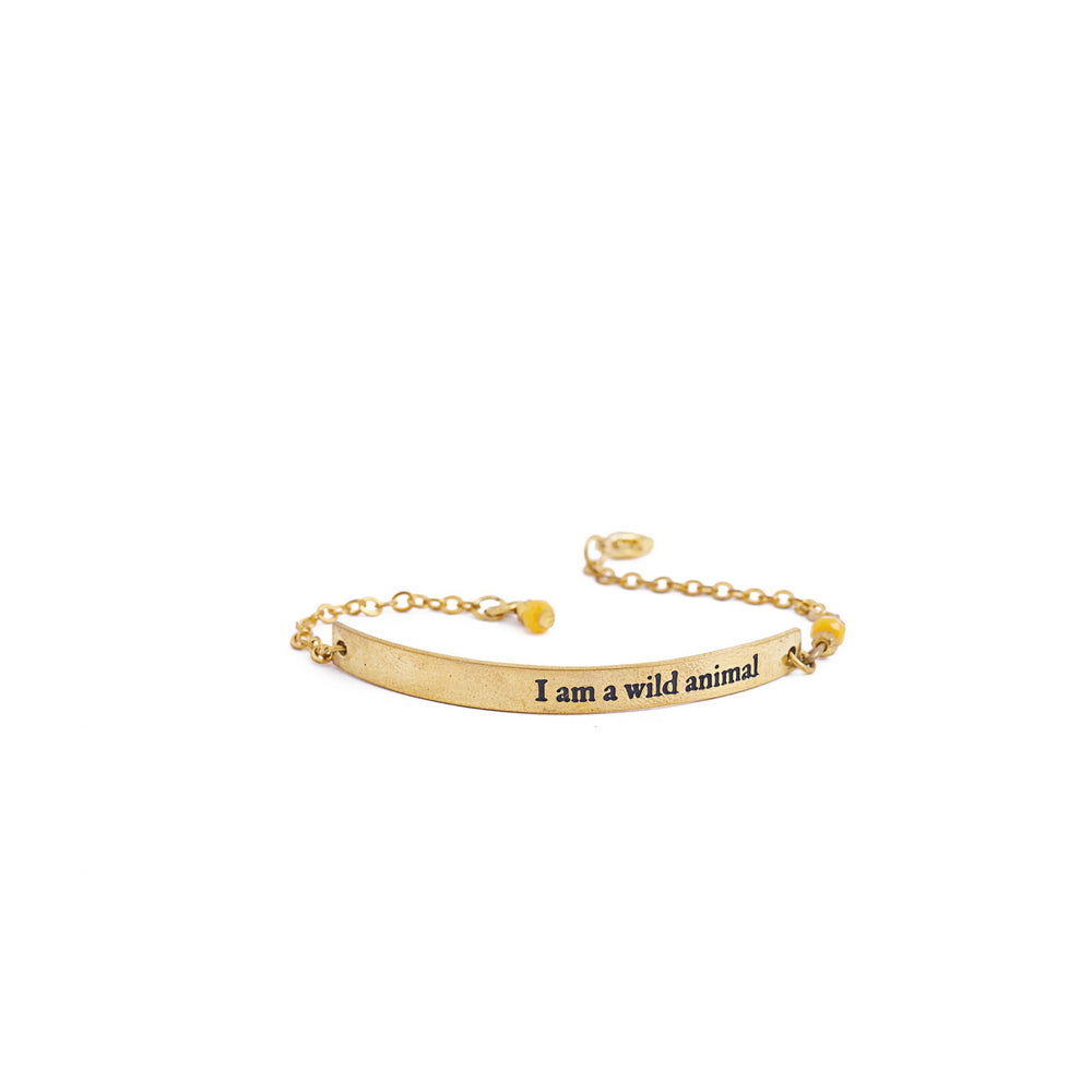 Load image into Gallery viewer, bracelet inspiration brass quote gold wild animal