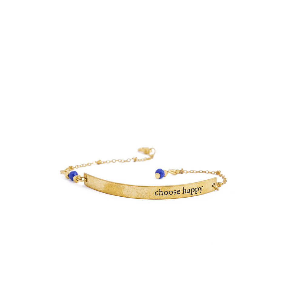 Load image into Gallery viewer, bracelet inspiration brass quote gold happy