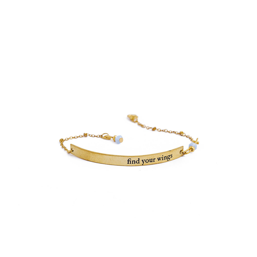 Load image into Gallery viewer, bracelet inspiration brass quote gold wings