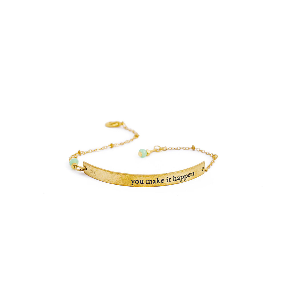Load image into Gallery viewer, bracelet brass quote gold inspiration