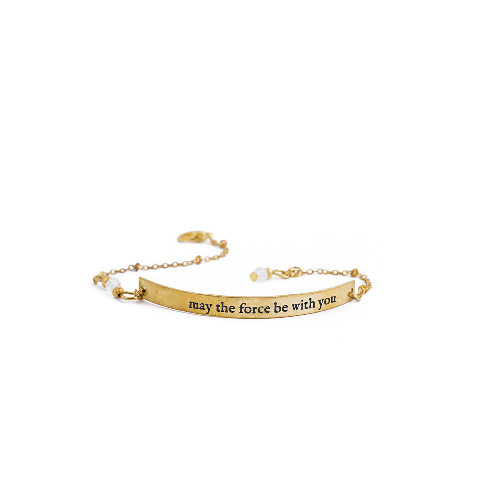 Load image into Gallery viewer, bracelet brass quote gold inspiration force