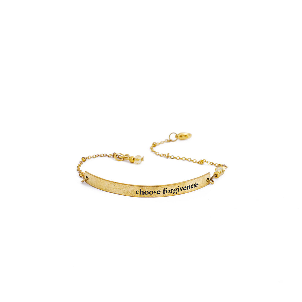 Load image into Gallery viewer, bracelet brass quote gold inspiration forgiveness